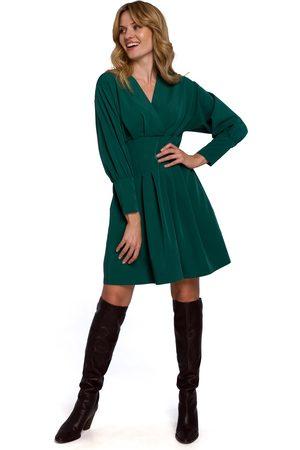 MOE Zielona kopertowa sukienka z kimonowym rękawem