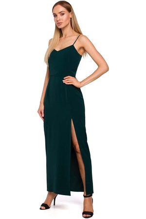 MOE Zielona maxi sukienka na ramiączkach z połyskiem