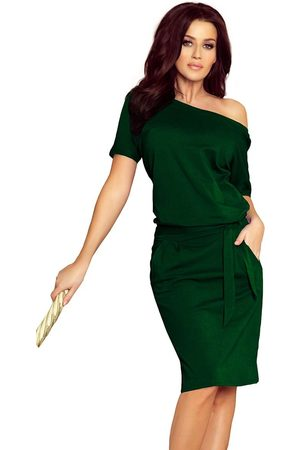 Numoco Zielona nowoczesna prosta sukienka z szerokim dekoltem