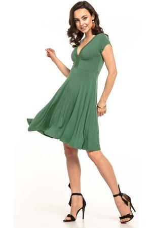 Tessita Zielona sukienka dzianinowa z dekoltem v na lato