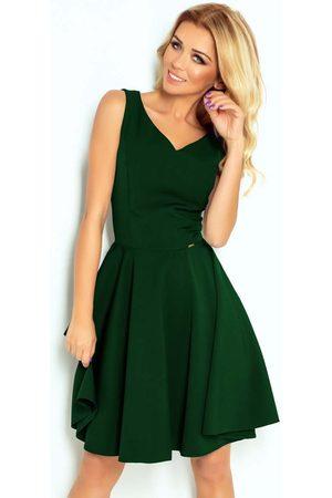 Numoco Kobieta Sukienki koktajlowe i wieczorowe - Zielona sukienka elegancka rozkloszowana na szerokich ramiączkach