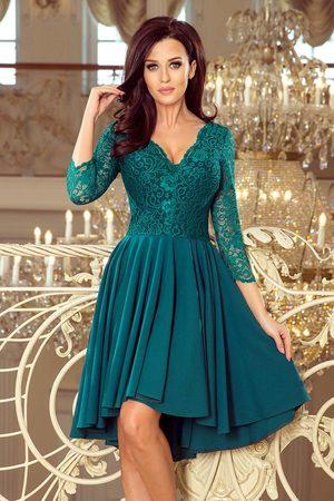 Numoco Kobieta Sukienki asymetryczne - Zielona wieczorowa asymetryczna sukienka z koronką