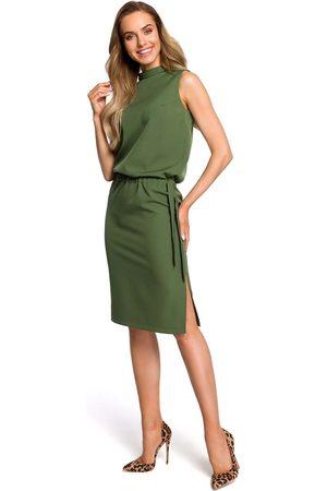 MOE Zielona zbluzowana midi sukienka na stójce bez rękawów
