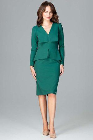 Katrus Zielona wizytowa sukienka z asymetryczna baskinką