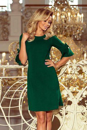 Numoco Kobieta Sukienki koktajlowe i wieczorowe - Zielona trapezowa sukienka z rozkloszowanym rękawem do łokcia