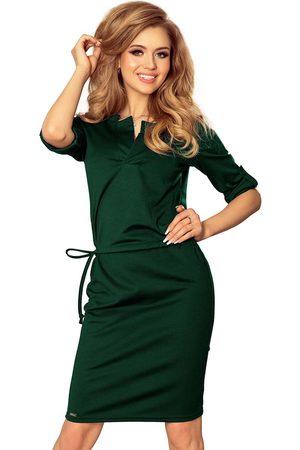 Numoco Zielona sukienka z niską stójką
