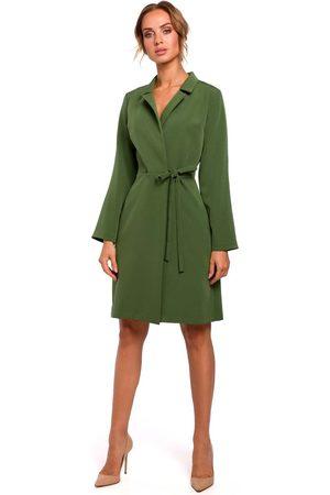 MOE Zielona sukienka żakietowa z rozszerzanymi rękawami