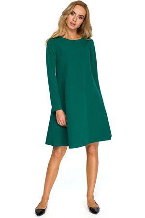 MOE Zielona wizytowa trapezowa sukienka z szyfonową wstawką