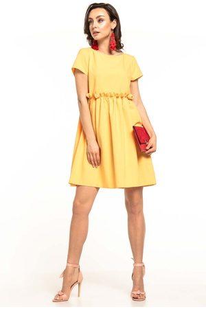 Tessita Żółta letnia wygodna sukienka z marszczonym dołem