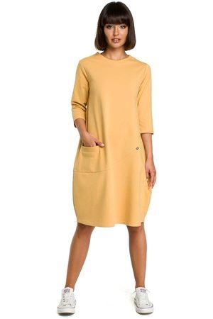 MOE Żółta luźna sukienka bombka z ozdobnymi przeszyciami