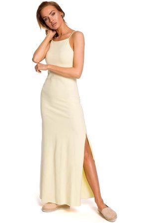 MOE Żółta maxi dresowa sukienka na wąskich ramiączkach