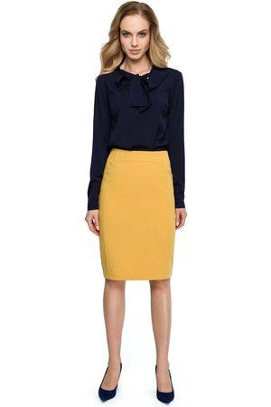 MOE Żółta klasyczna ołówkowa spódnica z modelującymi przeszyciami