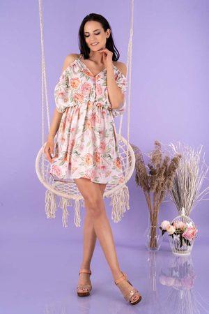 Merribel Kobieta Sukienki koktajlowe i wieczorowe - Zwiewna krótka sukienka w pastelowe róże