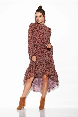 Lemoniade Kobieta Sukienki asymetryczne - Zwiewna sukienka asymetryczna z falbankami we wzory druk 7