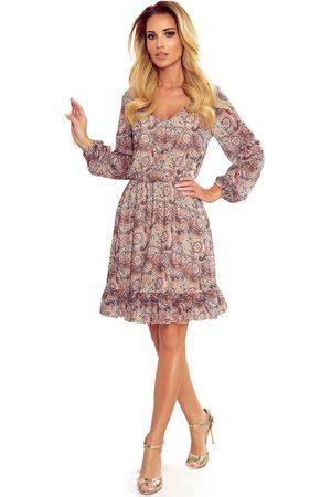 Numoco Kobieta Sukienki koktajlowe i wieczorowe - Zwiewna sukienka w serek z wzorem boho
