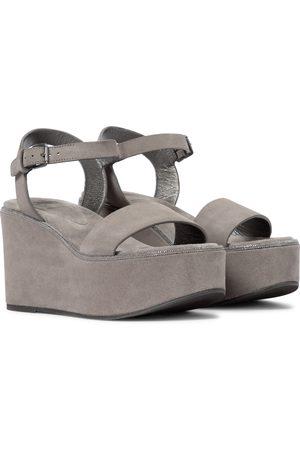 Brunello Cucinelli Suede platform wedge sandals