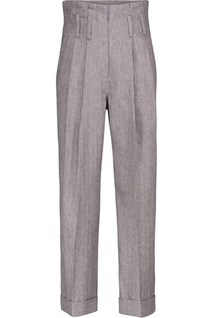 Brunello Cucinelli High-rise straight stretch-linen pants