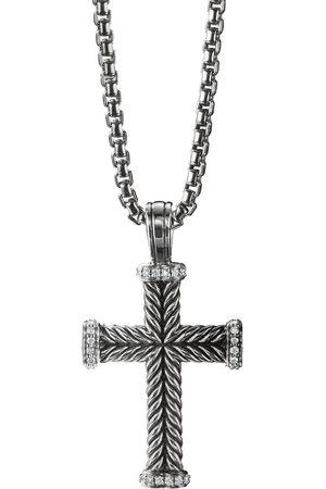 David Yurman Sterling diamond cross pendant