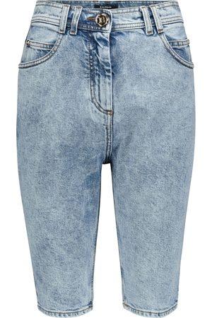 Balmain High-rise denim biker shorts