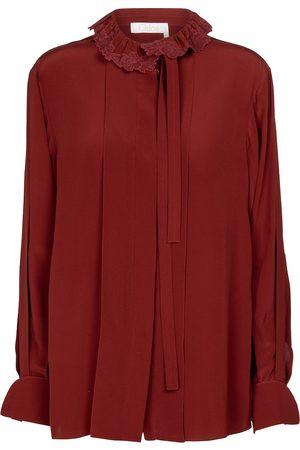 Chloé Kobieta Bluzki - Embroidered tie-neck silk blouse
