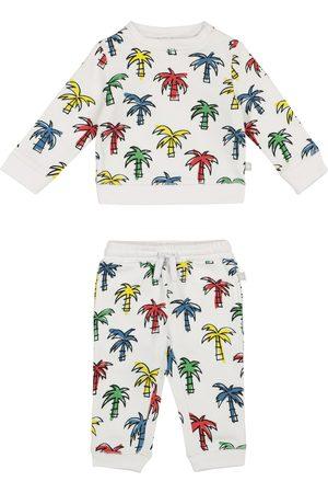 Stella McCartney Szorty - Baby palm-print organic cotton sweatshirt and shorts set