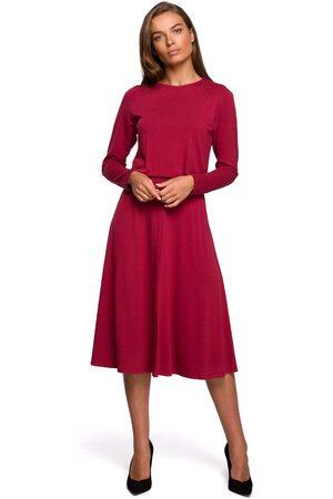 MOE Kobieta Sukienki koktajlowe i wieczorowe - Rozkloszowana sukienka z rozcięciem - wiśniowa