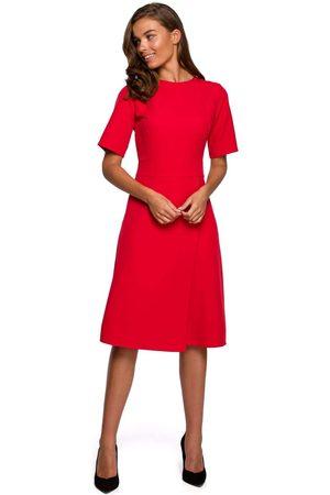 MOE Kobieta Sukienki koktajlowe i wieczorowe - Sukienka z kopertowym dołem - czerwona