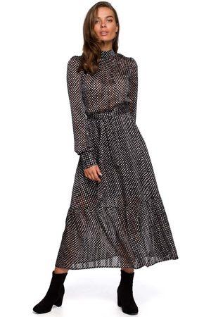 MOE Kobieta Sukienki z nadrukiem - Szyfonowa midi sukienka w drobne groszki - model 1
