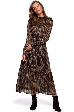 MOE Szyfonowa midi sukienka w drobne groszki - model 3