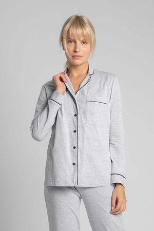 MOE Bawełniana koszula od piżamy z wypustkami - popielata