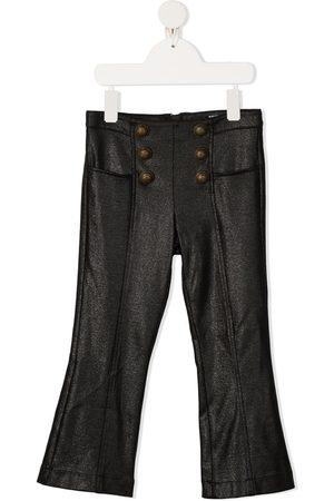 Balmain Dziewczynka Spodnie z szeroką nogawką - Black