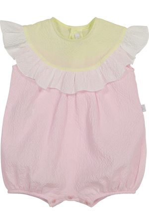 Il gufo Baby ruffled cotton playsuit
