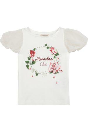 MONNALISA Logo jersey and organza top