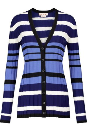 Marni Striped ribbed-knit wool cardigan