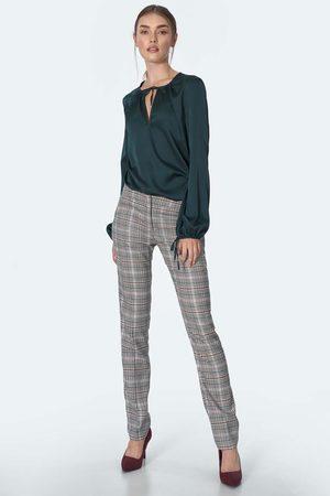Nife Eleganckie spodnie w kratę z prostą nogawką