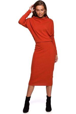 MOE Kobieta Sukienki koktajlowe i wieczorowe - Kimonowa sukienka z ołówkowym dołem - czerwona