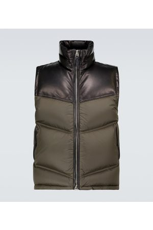 Tom Ford Kurtki skórzane - Nylon and leather down-filled gilet