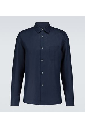 DEREK ROSE Z długim rękawem - Monaco 2 long-sleeved linen shirt