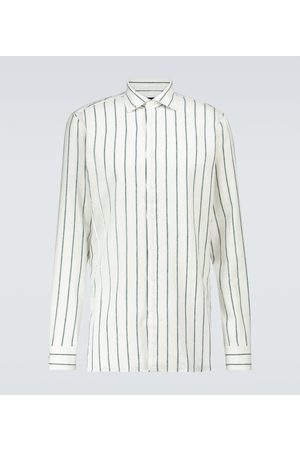 LARDINI Striped flax-blend shirt