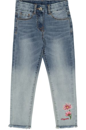 MONNALISA Embroidered stretch-cotton jeans