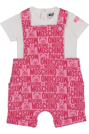 Moschino Kids Baby stretch-cotton t-shirt and dungarees set