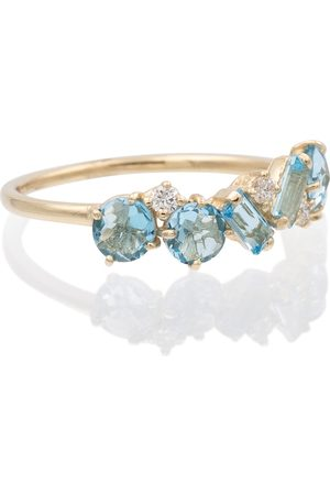Suzanne Kalan 14ct yellow gold topaz ring with diamonds