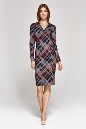Nife Elegancka ołówkowa sukienka - kratka