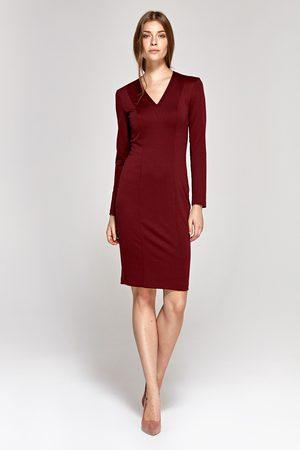 Nife Elegancka ołówkowa sukienka - bordowa