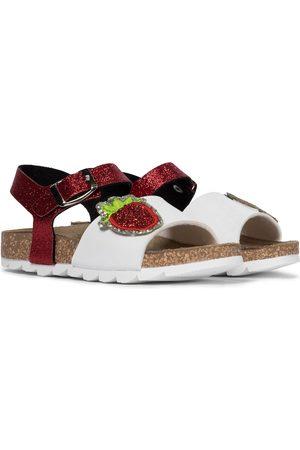 MONNALISA Glittered leather sandals