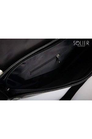 Solier Stylowa torba męska na ramię S12 czarna z połyskiem - Czarny