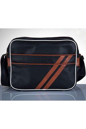 Solier Stylowa torba męska na ramię Messenger by MS02 czarno - brązowa - Brązowy
