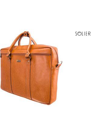Solier Mężczyzna Walizki - Skórzana torba męska na laptopa jasnobrązowa - jasny brązowy