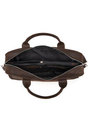 Brødrene Mężczyzna Walizki - Skórzana torba męska na laptopa BRODRENE BL01 ciemnobrązowa - c. brązowy