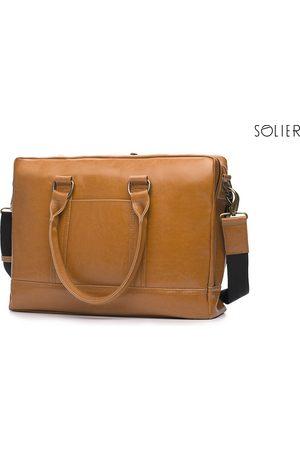 Solier Skórzana torba męska na laptopa jasnobrązowa - jasny brązowy